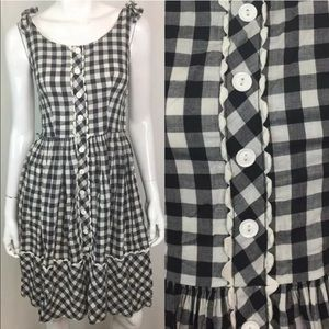 Vintage 50's 60's Plaid Check Lace Flare Dress